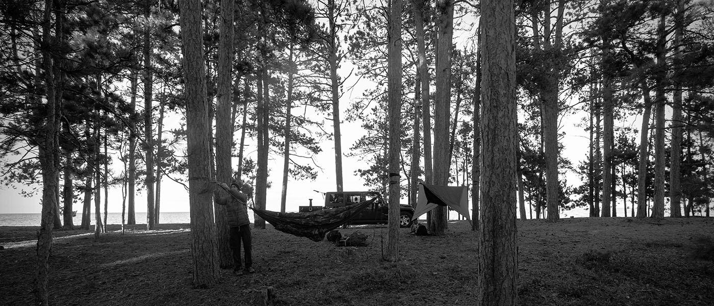 Steve setting up his hammock