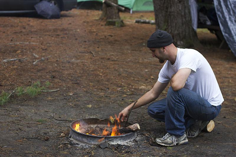 Steve starting a fire