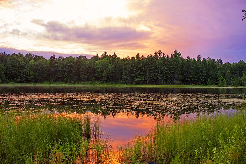 Oddly vivid sunset over Round Lake