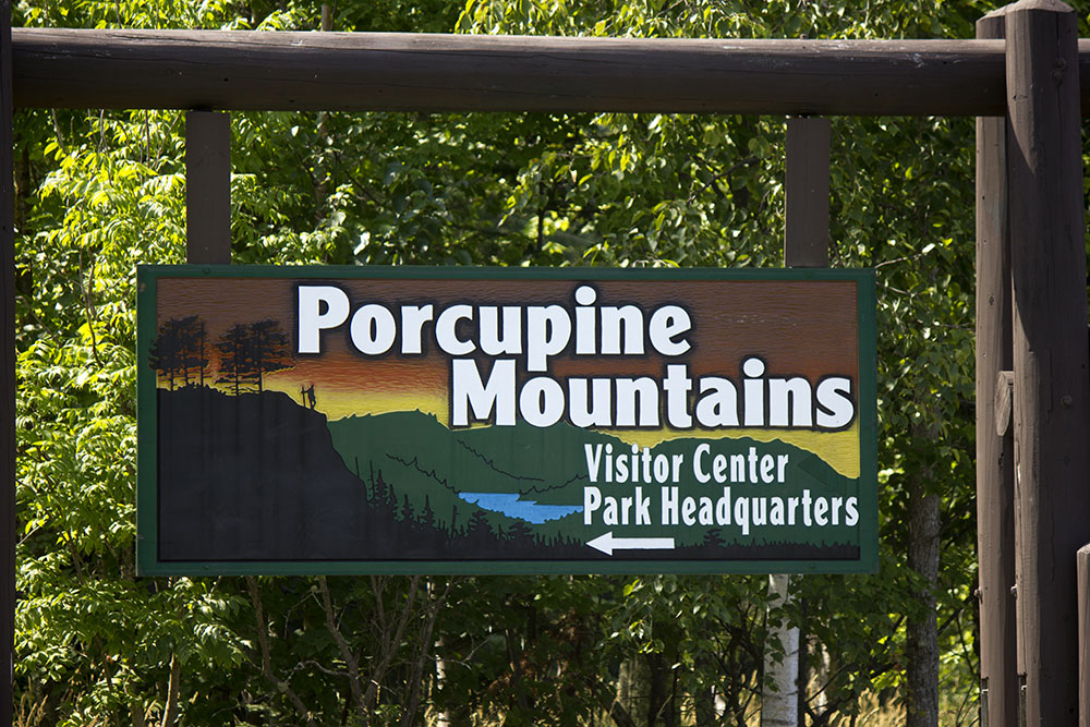 Porcupine Mountains Sign