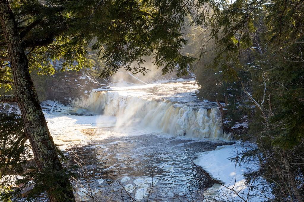 Manabezho Falls in the winter